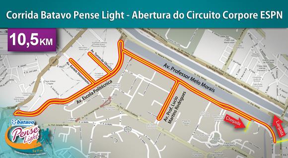 mapa de percursos Corpore   Corrida Batavo Pense Light   Abertura do Circuito  mapa de percursos