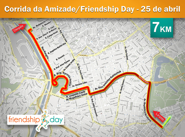 mapa percurso Corpore   Corrida da Amizade / Friendship Day   Mapa do percurso mapa percurso